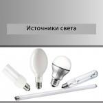Источники света - каталог продукции